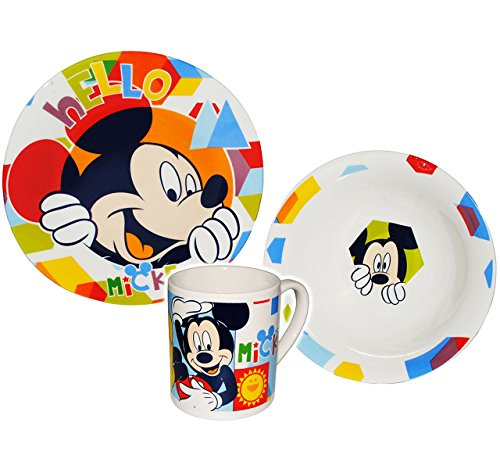 3-tlg-Geschirrset-Mickey-Mouse-und-Goofy-Porzellan-Trinkbecher-Teller-Mslischale-Kindergeschirr-Frhstcksset-Keramik-fr-Kinder-Jungen-Mdchen-Disney-Frhstcksgeschirr