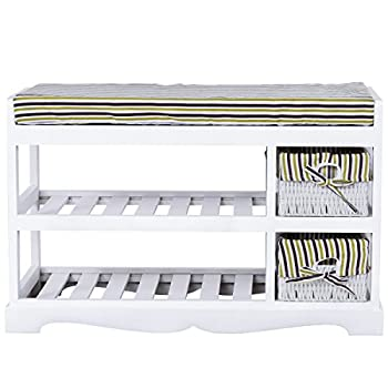AyaMastro 2Tier White Wooden Storage Shoe Bench Organizer Seat w/ 2 Drawer with Ebook