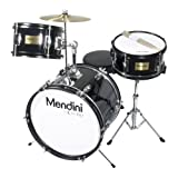 Mendini by Cecilio 16-inch 3-Piece Black Junior Drum Set + Cymbals, Drumsticks &#038; Adjustable Throne MJDS-3-BK
