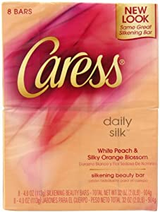 Caress Daily Silk Beauty Bar Soap, White Peach & Silky Orange Blossom, 8 Count (Pack of 3)
