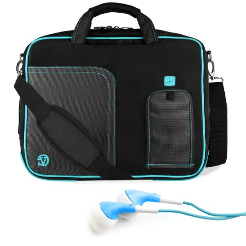 Black Blue Vg Pindar Edition Messenger Bag Carrying Case For Dell Xps 10 Windows Rt / Dell Latitude 10 Windows 8 10.1-Inch Tablet (32Gb 64Gb) + Blue Hifi Noise Reducing Headphones front-32645