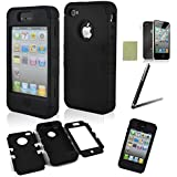 iphone 4 case, iphone 4s case, SQdeal® 3in1 Rubber + Plastic High Impact Hybrid Hard Case Protective Cover for iphone 4 4s, with Accessies - Touch Stylus Pen and Front/Back Screen Protector,etc (Classic Black)