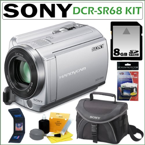 Sony DCRSR68 DCR-SR68 80GB Hard Disk Drive Handycam® Camcorder with 60x Optical Zoom and 2.7-inch Widescreen LCD in Silver + 8GB Accessory Kit