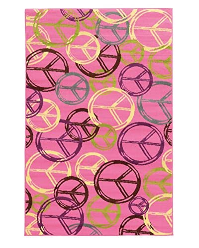 "Linon Home Décor Tween Collection Peace Rug, Pink, 4' 4"" x 6'"