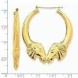 14k Gold Polished Horse Hoop Earrings