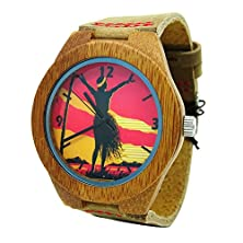 buy Handmade Kahala Bamboo Wood Quartz Watch Made With Wiith Different Hawaiian Image