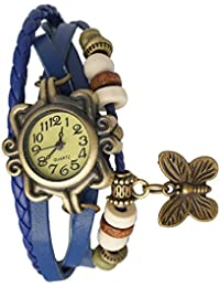Felizer Vintage Analog White Dial Bracelet Hanging Butterfly Watch For Women & Girls - (Blue)
