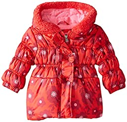 Pink Platinum Baby Girls\' 3 Bows Floral Print Puffer, Red, 12 Months