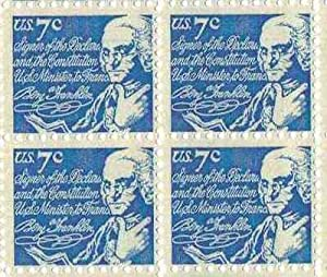 Benjamin Franklin Set of 4 x 7 Cent US Postage Stamps NEW Scot 1393dv
