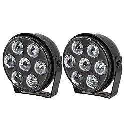 See 2 Pcs 12V Black Plastic Shell 5 LED Fog Light Foglights White for Car Details