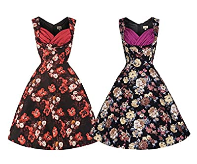 Lindy Bop 'Ophelia' Vintage 50's Inspired Floral Print Swing Dress