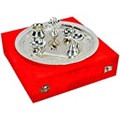 IndianCraftVilla Handmade Decorative Silver Plated Pooja Thali Aarti Thali Set Of 7 Pieces With Gift Box Packing...