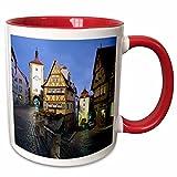 3dRose Danita Delimont - Walter Bibikow - Streets - Germany, Bavaria, Rothenburg ob Der Tauber, building and streets - 11oz Two-Tone Red Mug (mug_189337_5)
