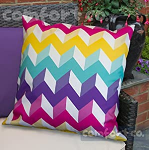 Waterproof Garden Cushions for Chairs - Fibre Filled Cushions for Seats and Benches - Colourful Outdoor Cushion (1, 3D Chevron) by Comfort Co®