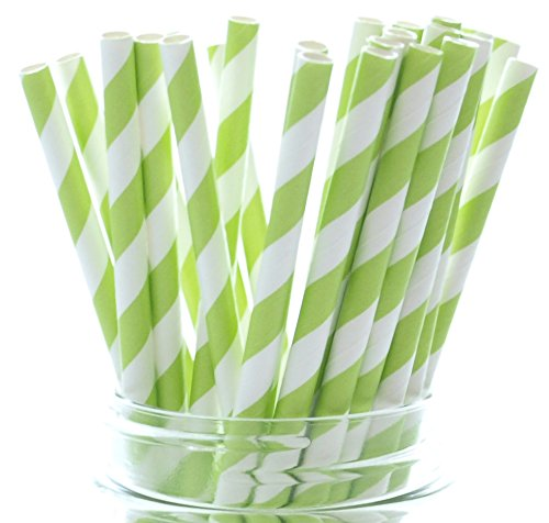 Lime Green Dazzling Cola Straws - 25 Pack - Pretty in Summer Beverages Like Juice, Lemonade and Punch
