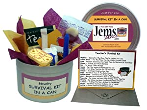 Teacher Survival Kit In A Can. Humorous Novelty Fun Gift - Thank You/Thankyou/Birthday/Christmas/End of Year/Term Present & Card All In One. Customise Your Can Colour. (Red/Yellow)