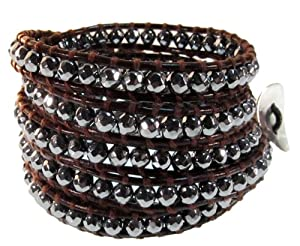 Journey Sparkling Faceted Hematite Gemstone Wrap Bracelet on Genuine Leather, Extra Long 5x Wrap Bracelet in Gift Box