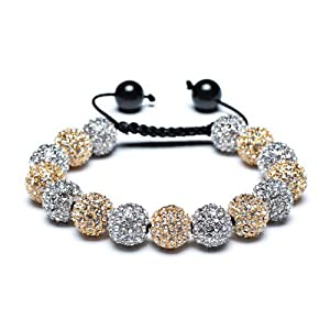 Bling Jewelry Shamballa Bracelet Unisex Swarovski Golden Crystal Cz Black Onyx Balls 12mm by Bling Jewelry