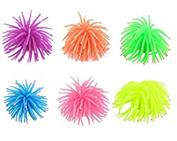 Lesypet 6 Pcs Artificial Silicone Sea Urchin Aquarium Ornament For Fish Tank, 3-inch Diameter