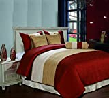 Cozy Beddings Amber 7-Piece Jacquard Comforter Set, California King, Burgundy/Gold/Begie