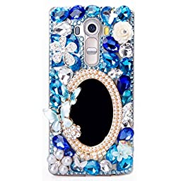 LG Leon Case, Sense-TE Luxurious Crystal 3D Handmade Sparkle Diamond Rhinestone Clear Cover with Retro Bowknot Anti Dust Plug - Girls Mirror Butterfly Flowers / Blue