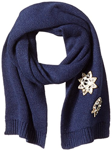 Marc-Jacobs-Womens-Embellished-Cashmere-Cold-Weather-Scarf-In-Navy
