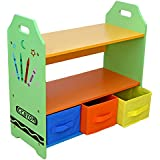 Bebe Style Children Sized Wooden Shelves with Three Storage Boxes (Crayon Themed)