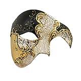 Luxury Mask Half Face Mask Masquerade Phantom Of The Opera, Black/Gold, One Size