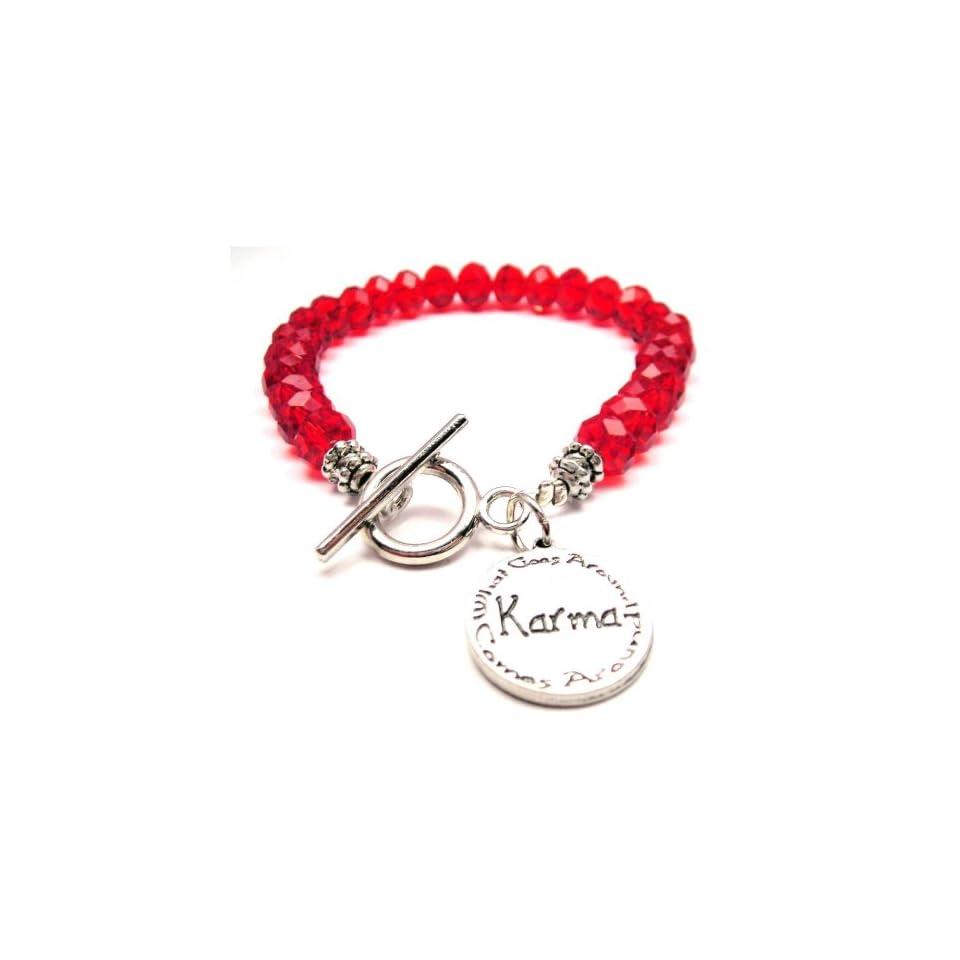 Karma What Goes Around Comes Around Red Crystal Beaded Toggle Bracelet Charm Bracelets Jewelry