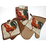 4 Piece Rooster Chicken Kitchen Set with Potholders, Oven Mitt & Towel