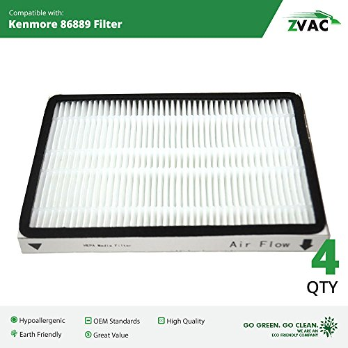 Kenmore 86889 EF-1 Exhaust HEPA Vacuum Filters - 4 Pack - Similar to Kenmore Part# 86889 or 20-86889, 40324, EF1 & Panasonic Part # MC-V199H or MCV199H- Made by ZVac (1 4 Hepa Filter compare prices)