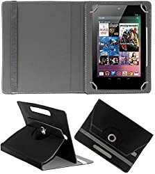 DressMyPhone Premium 360° Smart Leather Rotating Book Cover For Intex Ibuddy Connect (Stand Cover Holder) - Black