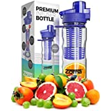 25oz Fruit Infuser Water Bottle With Carrying Loop And Finger Grips For Easy Transport