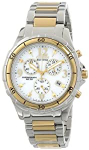 Citizen Eco-Drive Women's Quartz Watch with White Dial Chronograph Display and Silver Stainless Steel Bracelet FB1354-57A