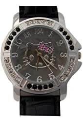 Hello Kitty Gorgeous Watch with Black Croc Style Strap