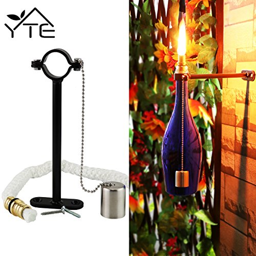 YTE Wine Bottle Tiki Torch Kit for Garden Lighting Christmas Halloween Party