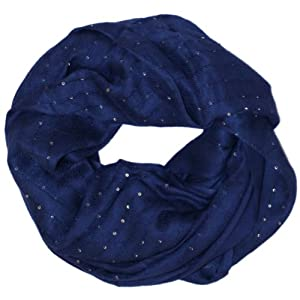 LibbySue-Just the Right Amount of Sparkle, Solid Color Infinity Scarf Navy Blue