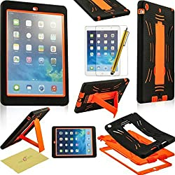 Fulland Hybrid Heavy Duty Hard Plastic/Soft Silicone Case with Stand for Apple Ipad Air 5 plus bonus Stylus Pen and Screen Protector -Black/Orange