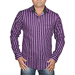Hunk Men's purpule Cotton Shirt