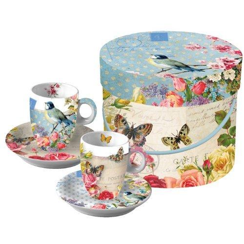 Paperproducts Design Gift Box Demitasse/Espresso Cups, Vintage Bird, Set Of 2