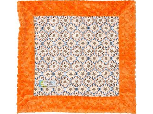 Baby Boy LUXE Lovey / Security Blanket - Western Stars on Orange Minky - 1
