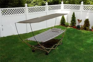 Bliss Hammocks BH-805C Foldable Hammock and Stand with Canopy by Bliss Living Home