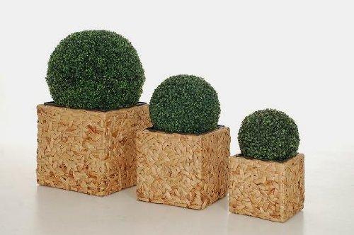 """Blumenkübel Pflanzkübel Pflanzgefäße Übertöpfe Blumentöpfe aus Wasserhyazinthe """"Block"""" 45/38/28 natur"""