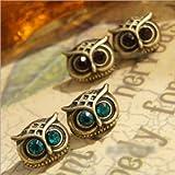 Cute Lovely Eye Owl Earrings Blue Pendientes Stud Earing