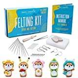 SMPL Crafts Needle Felting Starter Kit (Makes 5 Wool Felt Animals) - Includes 2 Keychains, 3 Phone Lanyards, 10 Needles, Wood Felt Tool, Mat, Finger Cots & Instructions - Great for Beginners, Kids