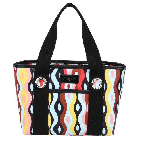 Sachi Fun Print Insulated Lunch Tote, Style 11-218, Wavy Rain - 1