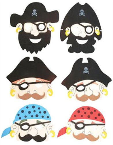 Set of 6 New Halloween Costume Party Foam Pirate Masks