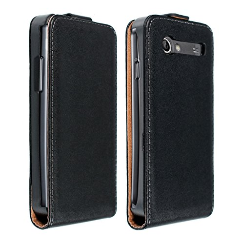 kwmobile Custodia in ecopelle in stile Flip per Samsung Galaxy S Advance i9070 con pratica chiusura magnetica in nero