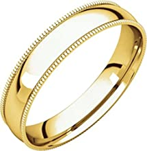 4mm Light Comfort Fit Milgrain Band in 14k Yellow Gold - Size 10