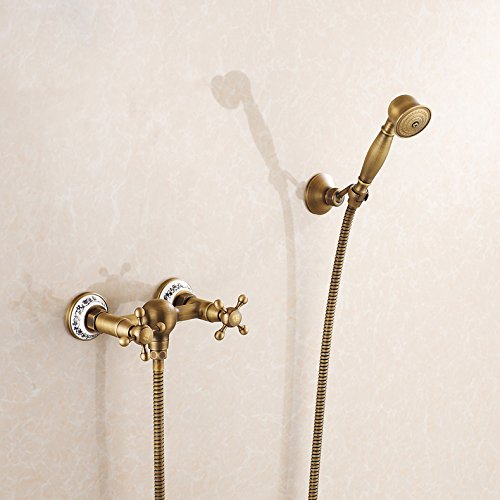 Rozin Wall Mount Hand Shower Set Mixer Diverter Antique Brass front-547625